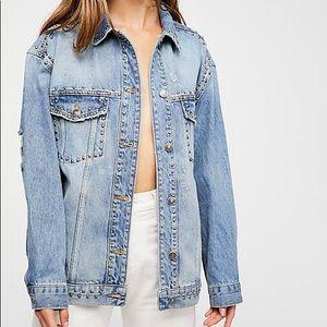 Free people studded denim trucker jacket xs